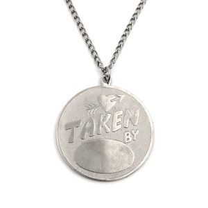 "Jewelry - Vintage ""Taken By"" Pendant Necklace Silver Custom"